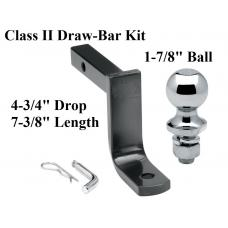 "Class 2 Drawbar kit w/ 1-7/8"" Trailer Hitch Ball 4-3/4"" Drop 1-1/4"" Receiver Mount"