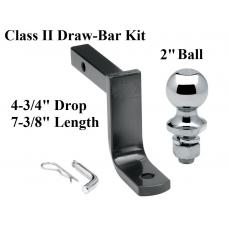 "Class 2 Drawbar kit w/ 2"" Trailer Hitch Ball 4-3/4"" Drop 1-1/4"" Receiver Mount"