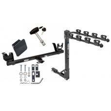 Trailer Tow Hitch w/ 4 Bike Rack For 86-95 Chrysler New Yorker LeBaron Imperial 88-95 Dodge Spirit Dynasty Plymouth Acclaim tilt away adult or child arms fold down carrier w/ Lock and Cover