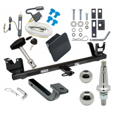 "Trailer Tow Hitch For 87-95 Chrysler LeBaron 88-93 Dodge Dynasty Ultimate Package w/ Wiring Draw Bar Kit Interchange 2"" 1-7/8"" Ball Lock and Cover"