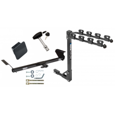Trailer Tow Hitch w/ 4 Bike Rack For 95-99 Honda Odyssey Isuzu Oasis tilt away adult or child arms fold down carrier w/ Lock and Cover