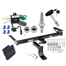 """Trailer Tow Hitch For 84-96 Jeep Cherokee Wagoneer Ultimate Package w/ Wiring Draw Bar Kit Interchange 2"""" 1-7/8"""" Ball Lock and Cover"""
