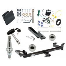 """Trailer Tow Hitch For 99-03 Saab 9-3 Convertible Ultimate Package w/ Wiring Draw Bar Kit Interchange 2"""" 1-7/8"""" Ball Lock and Cover"""