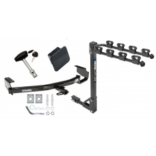 Trailer Tow Hitch w/ 4 Bike Rack For 96-07 Chrysler Dodge Plymouth Town & Country Grand Caravan Voyager tilt away adult or child arms fold down carrier w/ Lock and Cover