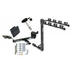 Trailer Tow Hitch w/ 4 Bike Rack For 97-05  Buick Century 05-09 Allure LaCrosse 98-02 Oldsmobile Intrigue tilt away adult or child arms fold down carrier w/ Lock and Cover