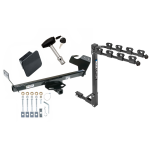 Trailer Tow Hitch w/ 4 Bike Rack For 07-10 Chrysler Sebring Except Convertible 08-10 Dodge Avenger tilt away adult or child arms fold down carrier w/ Lock and Cover