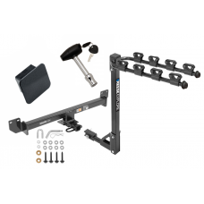 Trailer Tow Hitch w/ 4 Bike Rack For 14-19 Acura RLX Class 2 tilt away adult or child arms fold down carrier w/ Lock and Cover
