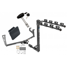 Trailer Tow Hitch w/ 4 Bike Rack For 13-20 Chevy Trax Buick Encore Class 2 tilt away adult or child arms fold down carrier w/ Lock and Cover