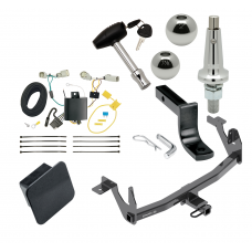"""Trailer Tow Hitch For 17-20 Lincoln Continental Class 2 Ultimate Package w/ Wiring Draw Bar Kit Interchange 2"""" 1-7/8"""" Ball Lock and Cover"""