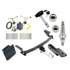 """Trailer Tow Hitch For 17-19 Mazda CX-5 Class 2 Ultimate Package w/ Wiring Draw Bar Kit Interchange 2"""" 1-7/8"""" Ball Lock and Cover"""