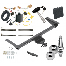 """Trailer Tow Hitch For 18-20 Volkswagen Atlas Ultimate Package w/ Wiring Draw Bar Kit Interchange 2"""" 1-7/8"""" Ball Lock and Cover"""