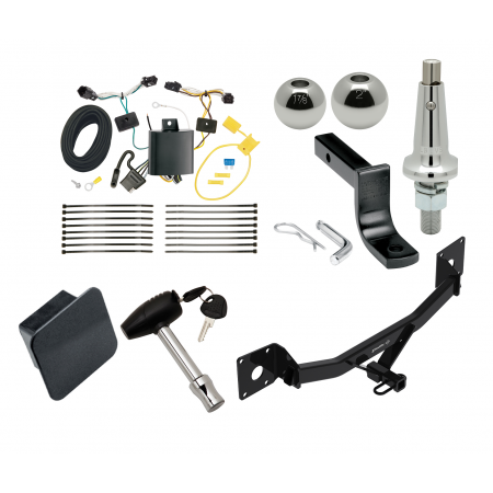 """Trailer Tow Hitch For 17-20 Buick LaCrosse Class 2 Ultimate Package w/ Wiring Draw Bar Kit Interchange 2"""" 1-7/8"""" Ball Lock and Cover"""