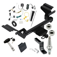 "Trailer Tow Hitch For 18-19 Buick Regal TourX Ultimate Package w/ Wiring Draw Bar Kit Interchange 2"" 1-7/8"" Ball Lock and Cover"