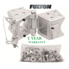 "Fulton 3"" x 4"" Bolt-On Trailer Hinge Kit Fold-Away Coupler 7,500 lbs Tongue Frame"
