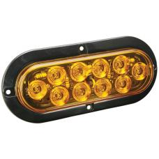 Wesbar LED Waterproof 6in Oval Surface Flange Mount Trailer Taillights w/Black Flange Base RV