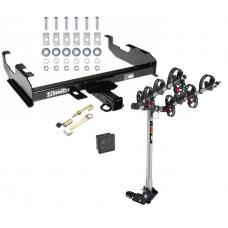 Trailer Tow Hitch For 63-00 GMC Chevy C/K Pickup Ford F150 F250 F350 F450 4 Bike Rack w/ Hitch Lock and Cover
