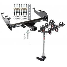 Trailer Tow Hitch For 63-02 Dodge GM Chevy C/K Ramcharger Ford w/ Deep Drop Bumper w/ 4 Bike Carrier Rack