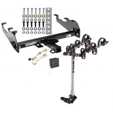 Trailer Tow Hitch For 63-02 Dodge GM Chevy C/K Ramcharger Ford w/ Deep Drop Bumper 4 Bike Rack w/ Hitch Lock and Cover
