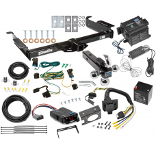 "Class 4 Hitch For 03-19 Chevy Express GMC Savana Van w/ Tekonsha Trailer Brake Control 7-Way RV Wiring Breakaway Battery Charger Complete System Tri-Tow-Ball 1-7/8"" 2"" 2-5/16"""