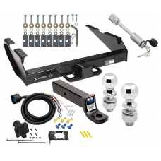 "Class 5 Trailer Tow Hitch For 88-00 Chevy GMC C/K 2500 3500 w/ 7-Way Wiring 2-5/16"" and 2"" Balls 3"" Drop Mount and Towing Lock"