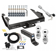 "Class 5 Trailer Tow Hitch For 88-00 Chevy GMC C/K 2500 3500 w/ 7-Way Wiring 2-5/16"" and 2"" Balls 5"" Drop Mount and Towing Lock"
