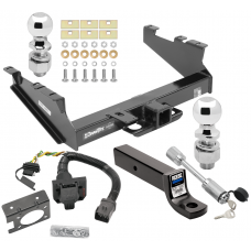 "Class 5 Trailer Hitch w/ 7-Way Wiring Harness Kit For 00-02 Dodge Ram 2500 3500  w/ Factory Tow Prep Package 2-5/16"" and 2"" Balls 3"" Drop Mount and Towing Lock"