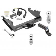 "Class 5 Trailer Hitch w/ 7-Way Wiring Harness Kit For 00-02 Dodge Ram 2500 3500  w/ Factory Tow Prep Package 2-5/16"" and 2"" Balls 5"" Drop Mount and Towing Lock"
