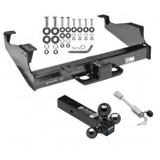"""Class 5 Trailer Tow Hitch For 99-17 F-350 F-450 F-550 Super Duty Cab & Chassis w/ 1-7/8"""" 2"""" 2-5/16"""" Tri-Tow-Ball Mount and Towing Lock"""