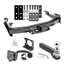 "Class 5 Trailer Hitch Package w/ Wiring For 01-10 Chevy Silverado GMC Sierra 2500 3500 w/ 2-5/16"" Ball 3"" Drop Mount 7-Way Pin Blade RV"