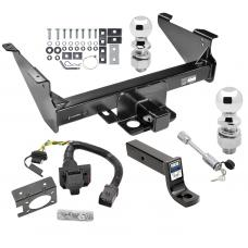 "Class 5 Trailer Hitch w/ 7-Way Wiring Harness Kit For 03-09 Dodge RAM 1500 2500 3500 Except Mega Cab w/ Factory Tow Prep Package 2-5/16"" and 2"" Balls 5"" Drop Mount and Towing Lock"