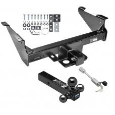 "Class 5 Trailer Tow Hitch For 03-19 Dodge RAM 1500 2500 3500 Except Mega Cab w/ 1-7/8"" 2"" 2-5/16"" Tri-Tow-Ball Mount and Towing Lock"
