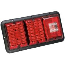 Bargman Triple Trailer Taillight Horizontal Mount 84/85 Series w/ Red LED Incandescent Backup w/ Black Base RV