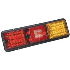 LED Taillight 84 Recessed Triple Long Horizonal Mount Red Backup Amber Black