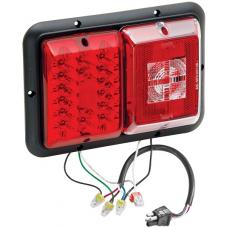 Bargman LED Recessed Trailer Taillight Horizontal Mount w/ Red Incandescent Backup Black Base w/ 4 Square Plug