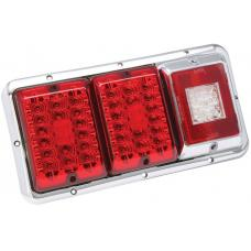 Bargman Triple Trailer Taillight Horizontal Mount w/ Red/Red LED Incandescent w/ Backup Chrome Base RV