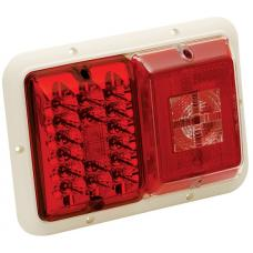 Bargman Trailer Taillight Horizontal Mount 84/85 Series w/ Red LED Incandescent Backup w/ White Base RV