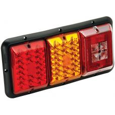 Bargman Triple Trailer Taillight Horizontal Mount 84/85 Series w/ Red/Amber LED Incandescent Backup w/ Black Base RV