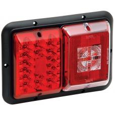 Bargman Trailer Taillight Horizontal Mount 84/85 Series w/ Red LED Incandescent Backup w/ Black Base RV