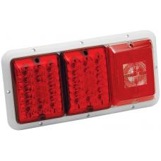 Bargmans Trailer Taillight Horizontal Mount w/ Red/Red LED Incandescent Backup w/ White Base