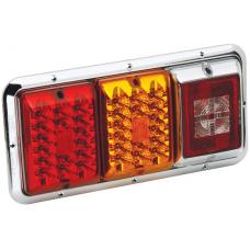 Bargman Triple Trailer Taillight Horizontal Mount w/ Red/Amber LED Incandescent Backup Chrome Base RV Camper