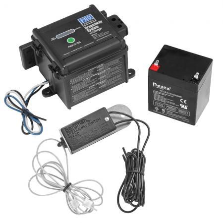 """Pro Series Push-To-Test LED Electric Trailer Breakaway System Kit Built-In Battery Charger Top Load 48"""" Switch"""