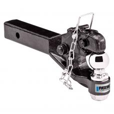 """Reese Trailer Tow Hitch Ball Mount W/ 12K Pintle Hook Fits 2"""" Tow Receiver 7K Ball Rating 2,400 lbs Tongue Weight Chrome"""