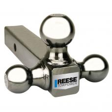 "Reese Elite Black Nickel Triple Ball Trailer Hitch Ball Mount Fits 2"" Tow Receiver 1-7/8"" 2"" and 2-5/16"" Balls"