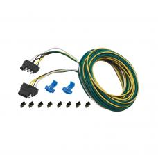 """4-Flat Wiring Harness Tow Plug Kit Trailer End Connector, 30 ft Wishbone Harness Kit, 3 ft Ground w/4 ft Car End, 18"""" Ground"""