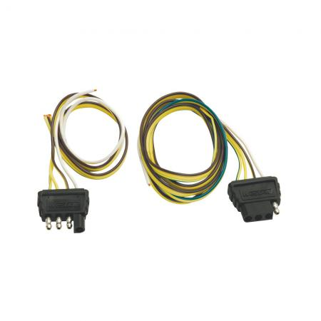 """4-Flat Wiring Harness Tow Plug Kit Trailer End Connector, 18"""" Wishbone Harness, 18"""" Ground w/4 ft Car End, 18"""" Ground"""
