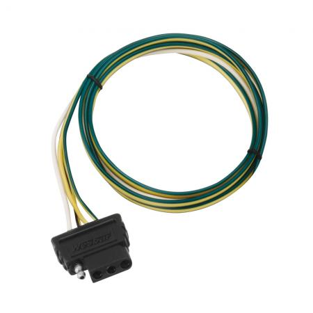 "4-Flat Wiring Harness Tow Plug Kit Car End Connector 72"" Long, 72"" Ground (Includes Wire Taps)"
