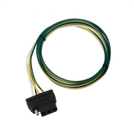 """4-Flat Wiring Harness Tow Plug Kit Car End Connector 48"""" Long, 18"""" Ground"""