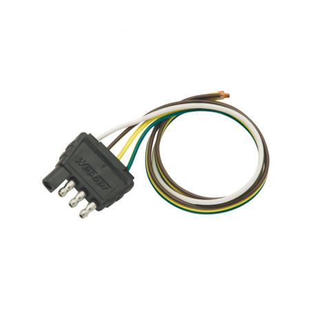 """4-Flat Wiring Harness Tow Plug Kit Trailer End Connector, 18"""" Wunside Harness, 18"""" Ground"""