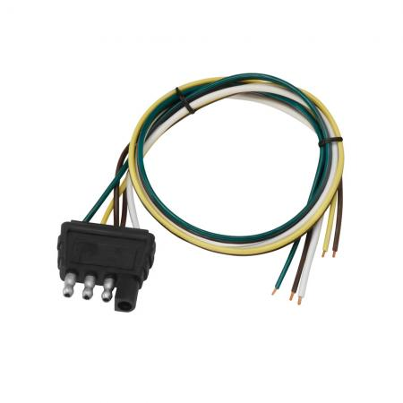 """4-Flat Wiring Harness Tow Plug Kit Trailer End Connector, 18"""" Wishbone Harness, 18"""" Ground"""