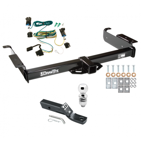 "Trailer Tow Hitch For 03-20 Chevy Express GMC Savana 1500 2500 3500 Complete Package w/ Wiring and 2"" Ball"